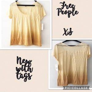[Free People] NWT Ombré Golden Yellow Beaded Top